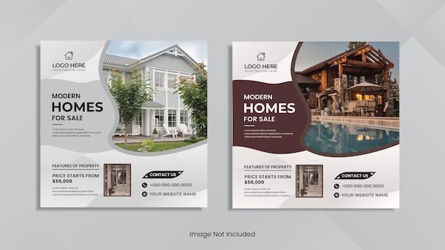 Dom na sprzedaż projekt postów w mediach społecznościowych z minimalnymi organicznymi kształtami.