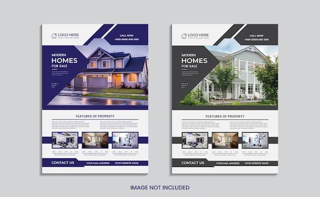 Dom na sprzedaż projekt ulotki nieruchomości w dwóch różnych kolorach.