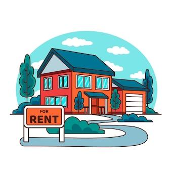 Dom na sprzedaż ręcznie rysowane projekt