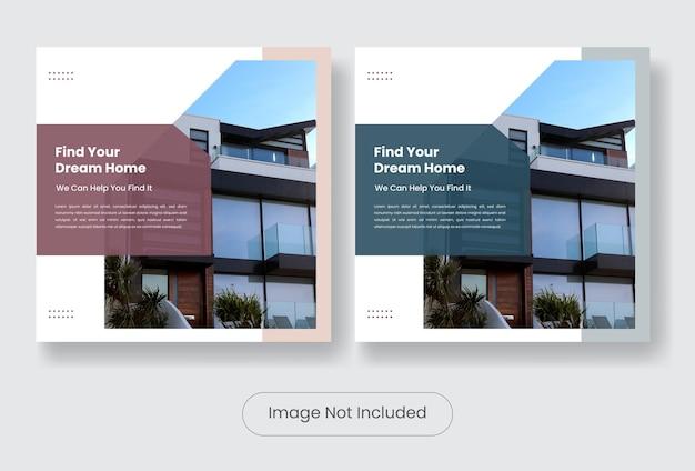 Dom na sprzedaż social media post szablon transparent zestaw.