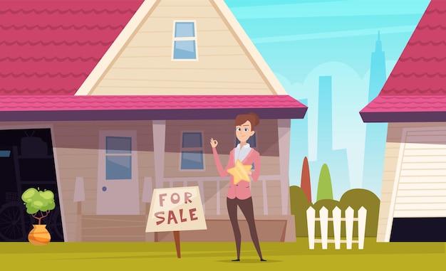 Dom na sprzedaż. styl życia na przedmieściach, agent nieruchomości i budynek.