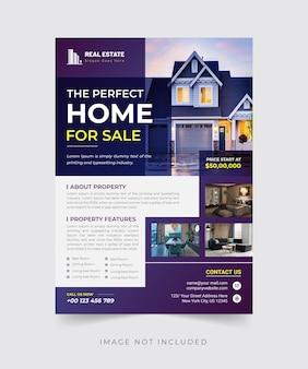 Dom na sprzedaż ulotka nieruchomości szablon wydruku premium wektorów