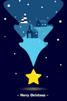 Dom na wzgórzu w kolorze niebieskim z żółtą gwiazdką kartkę z życzeniami