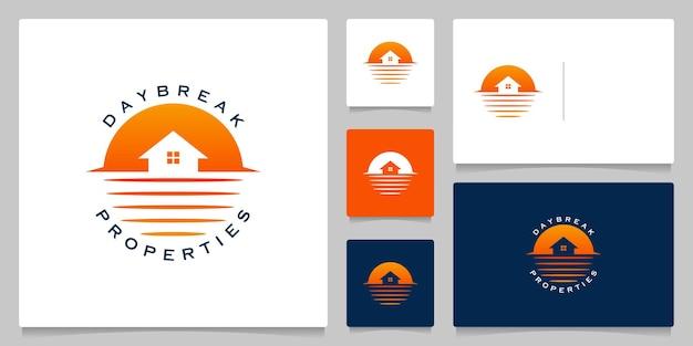 Dom nad jeziorem linia wodna projekt logo krajobrazu na zewnątrz z wizytówką