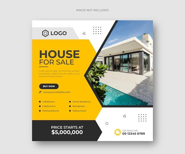 Dom nieruchomości na sprzedaż baner postów w mediach społecznościowych lub szablon ulotki kwadratowej