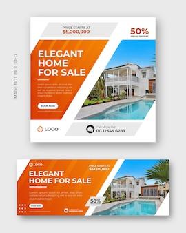 Dom nieruchomości na sprzedaż baner postów w mediach społecznościowych lub zestaw szablonów banerów internetowych