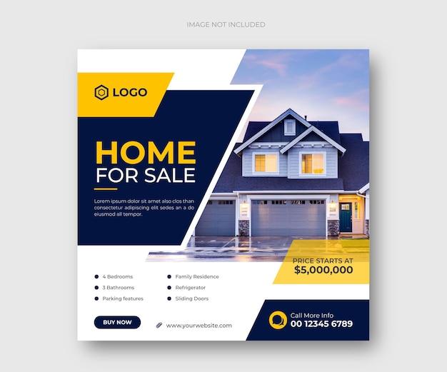 Dom nieruchomości na sprzedaż post w mediach społecznościowych lub szablon kwadratowy baner