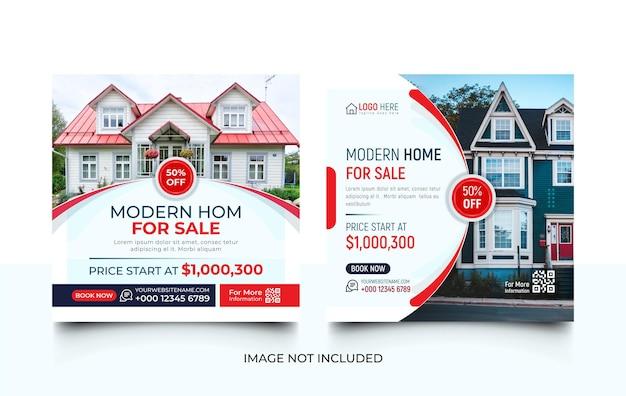 Dom nieruchomości na sprzedaż zestaw szablonów promocji w mediach społecznościowych