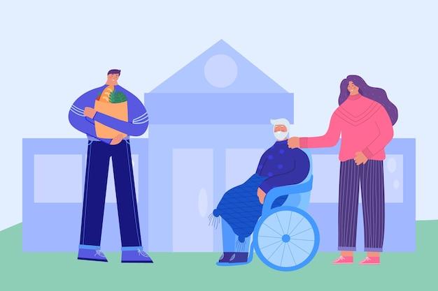 Dom opieki. kobieta opiekująca się starszą osobą niepełnosprawną. mężczyzna pomaga przynosić artykuły spożywcze.
