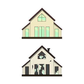 Dom parterowy przed i po remoncie. styl kreskówki.
