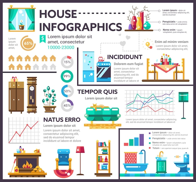 Dom - plakat informacyjny, układ szablonu okładki broszury z ikonami, inne elementy infografiki i tekst wypełniacza
