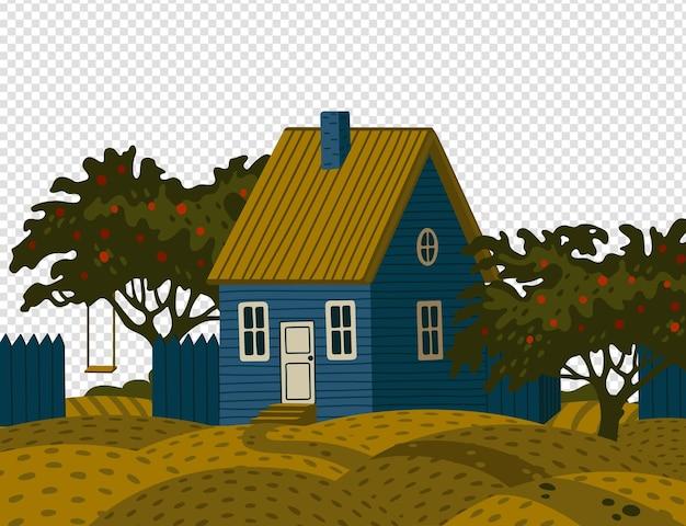 Dom podmiejski - dacza. wiejski krajobraz z niebieskim domem stodoły w stylu rustykalnym i zielonym ogrodem owocowym