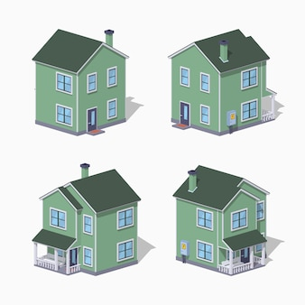Dom podmiejski low poly