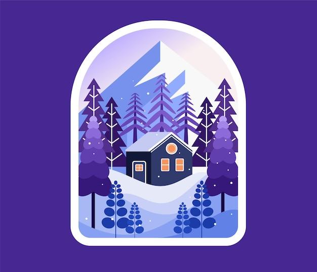 Dom pokryty śniegiem w zimie