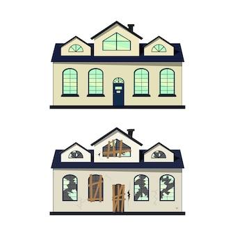 Dom przed i po naprawie. styl kreskówkowy. ilustracja.