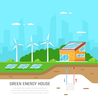 Dom przyjazny dla środowiska. zielona energia. energia słoneczna, wiatrowa i geotermalna. płaski styl