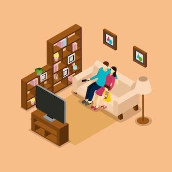 Dom rodzinny ogląda izometryczny baner telewizyjny