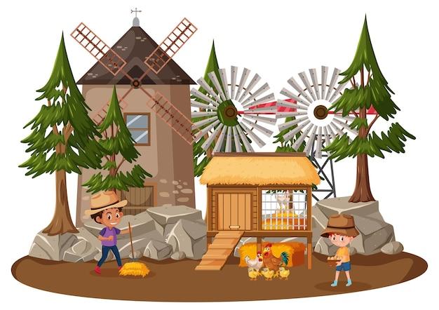 Dom rolnika z dziećmi na białym tle