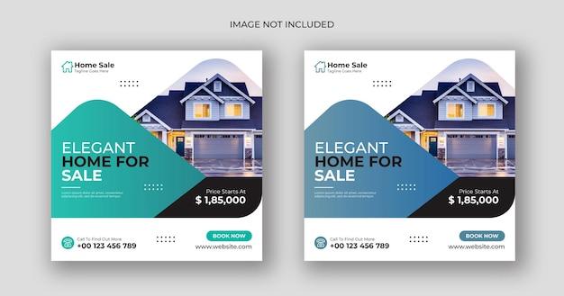 Dom sprzedaż biznes mediów społecznościowych post kwadratowy szablon banera