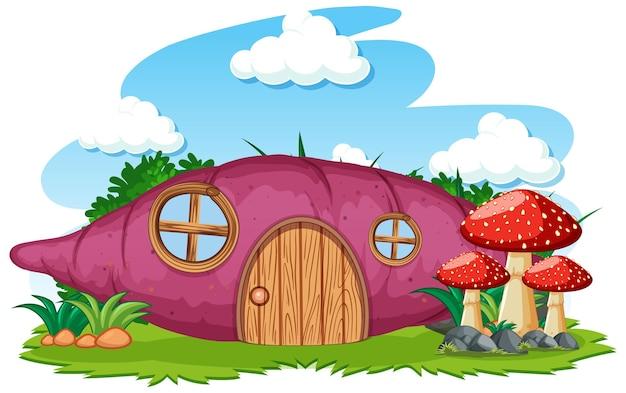 Dom taro z grzybowym stylem kreskówki na niebie