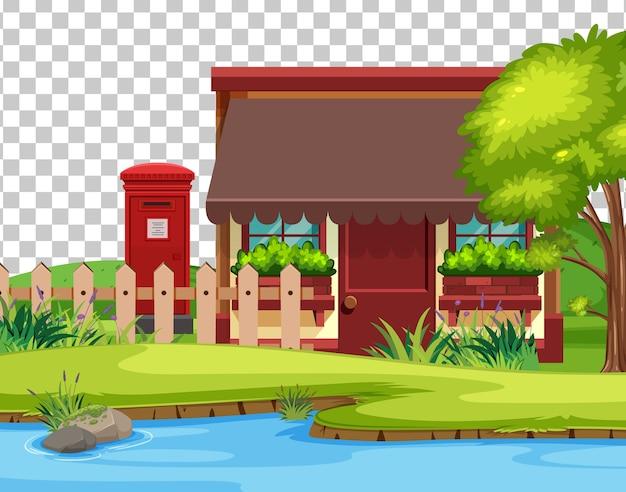 Dom w krajobrazie natury sceny na przezroczystym tle