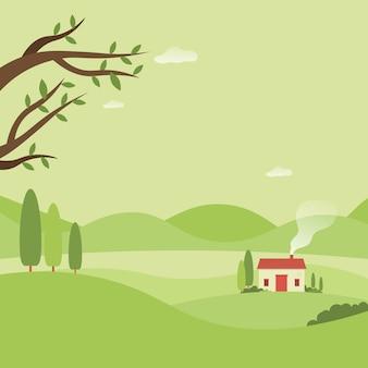 Dom w lesie piękny krajobraz natura tło