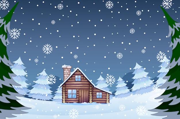 Dom w lesie zimą