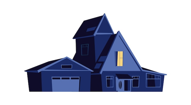 Dom w nocy, budynek ze świecącymi oknami w ciemności, ilustracja kreskówka