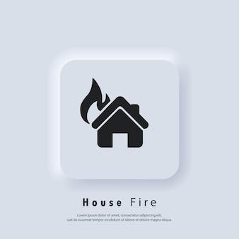 Dom w ogniu. logo pożaru domu. wektor. ikona interfejsu użytkownika. biały przycisk sieciowy interfejsu użytkownika neumorphic ui ux. neumorfizm