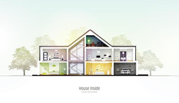 Dom w rozcięciu trzypiętrowy domek wewnątrz z pokojami garażowymi i nowoczesnym wnętrzem z meblami