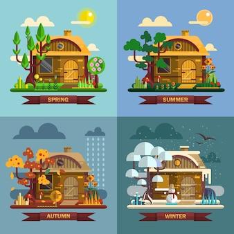 Dom w różnych porach roku. koncepcja czterech pór roku, lato, jesień, jesień, zima. wektor zestaw w stylu płaski.