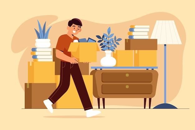 Dom w ruchu człowiek niosący pudełka