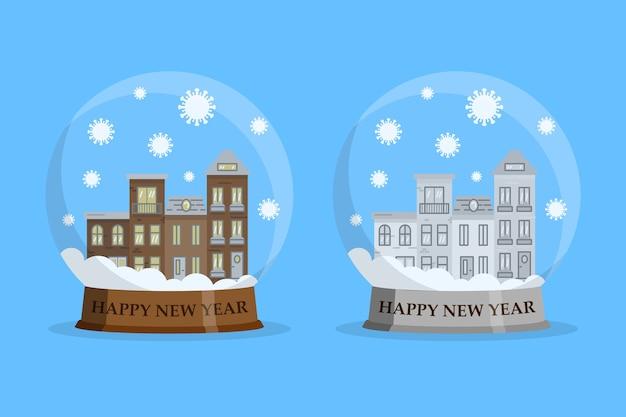 Dom w śnieżnej kuli ze spadającymi bakteriami covid-19. szczęśliwego nowego roku pobyt w domu koncepcja. w płaskiej konstrukcji.