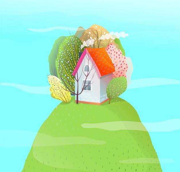 Dom w stylu przypominającym akwarele na letnim wzgórzu. kreskówka wektor.