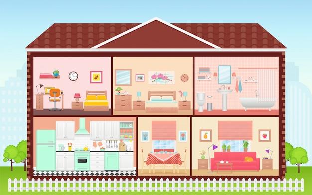 Dom wewnątrz, wnętrze pokoju. przekrój domu kreskówka. ilustracja w płaskiej konstrukcji.