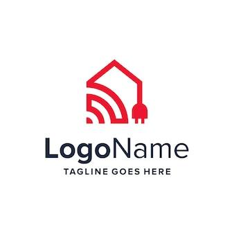 Dom z bezprzewodowym i elektrycznym konturem prostym, eleganckim, kreatywnym geometrycznym nowoczesnym projektem logo