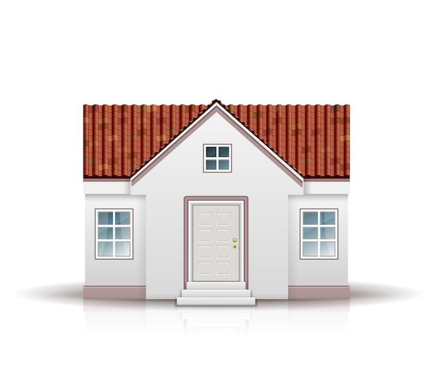 Dom z czerwonym dachem na białym tle
