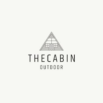 Dom z drewna domek domek logo ikona szablon projektu płaskie wektor ilustracja