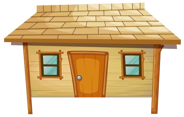 Dom z drewna na białym tle