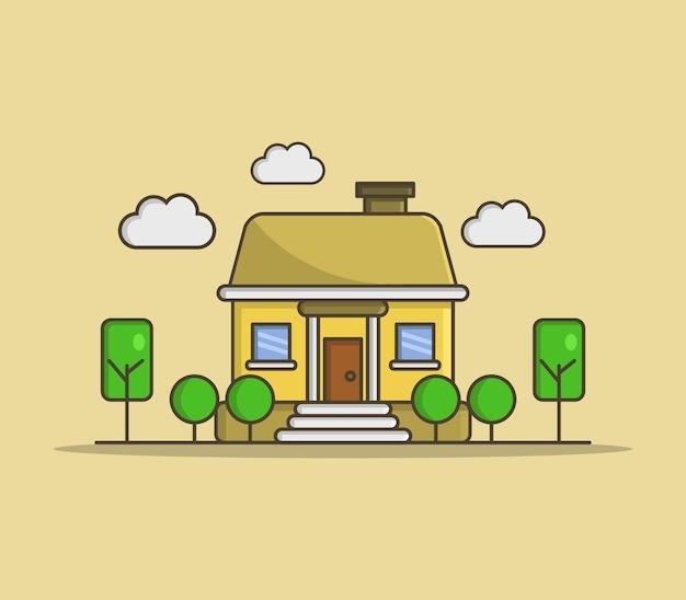 Dom z drzewami i chmurami na żółto