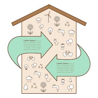 Dom z ekologii ikon pojęciem i strzała.