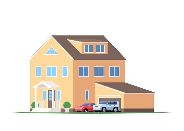 Dom z garażem i samochodami, suv i samochód sportowy.