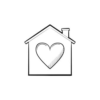 Dom z ikony doodle wyciągnąć rękę kształt serca. rodzina, miłość, bezpieczeństwo, ochrona, koncepcja relacji. szkic ilustracji wektorowych do druku, sieci web, mobile i infografiki na białym tle.
