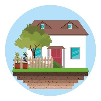 Dom z ogrodzeniem z drzewa