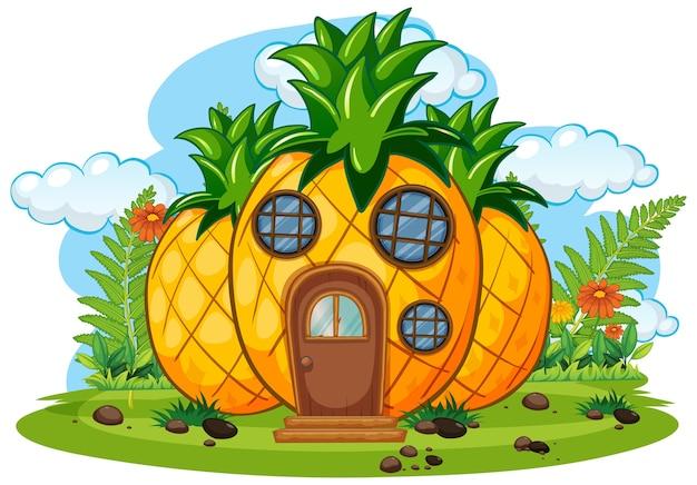 Dom z owocami fantasy na białym tle