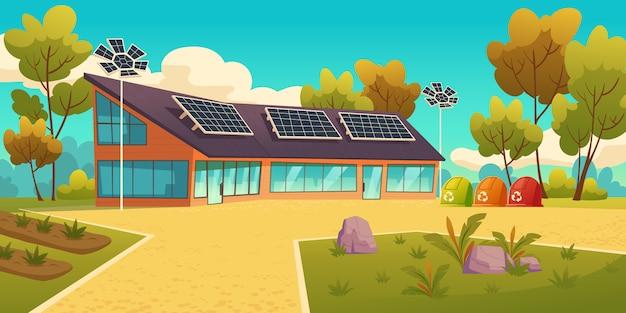 Dom z panelami słonecznymi i pojemnikami na śmieci