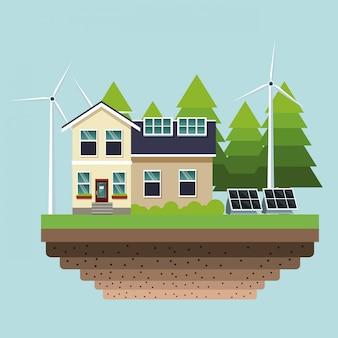 Dom z panelami słonecznymi i turbinami wiatrowymi