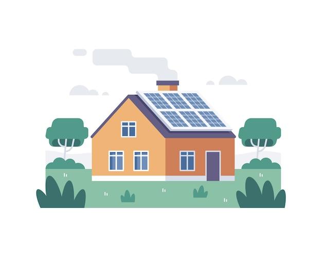 Dom z panelem słonecznym