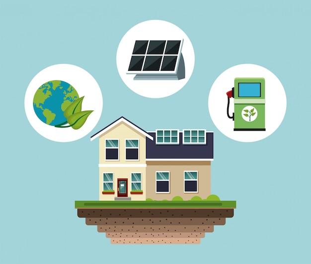 Dom z panelu słonecznego wektorowym ilustracyjnym graficznym projektem