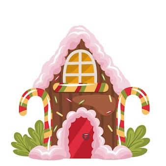 Dom z piernika świąteczna uczta na białym tle piernik z bitą śmietaną i c